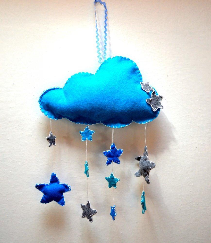Fiocco nascita a forma di nuvola in pannolenci personalizzabile
