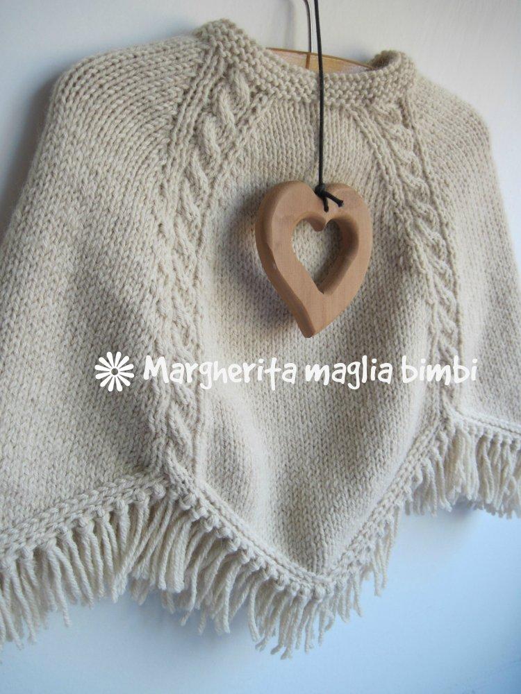 Poncho bambina con trecce fatto a mano in pura lana e alpaca - maglia