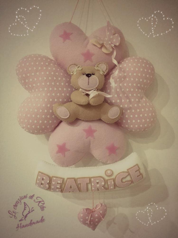 Fiocco nascita quadrifoglio con dolce orsetto