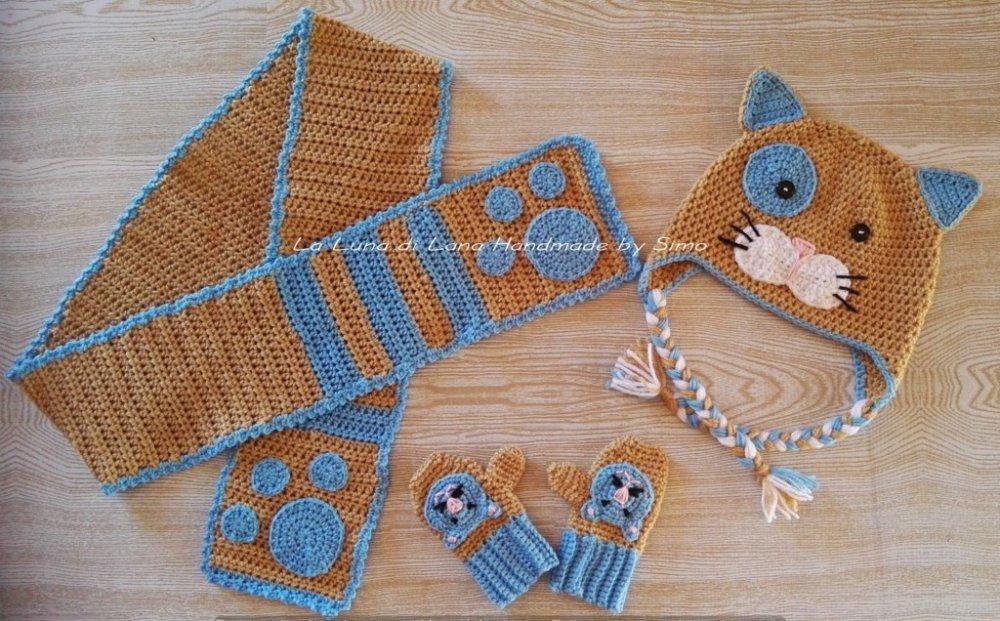 Cappello per bambino o bambina, con sciarpa e guanti coordinati