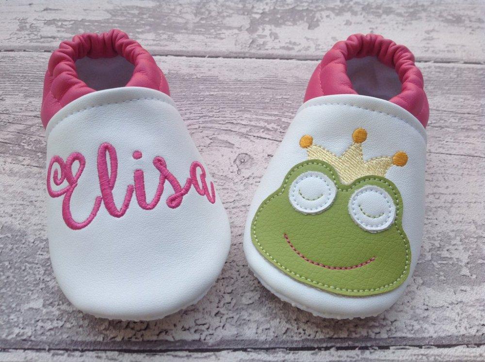 Scarpine ecopelle Rana personalizzate con nome - Suola antiscivolo - Bambina Neonata