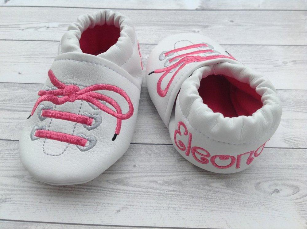 Scarpine Stringhe ecopelle bianca personalizzate con nome - Bimba Neonata 3-6 mesi