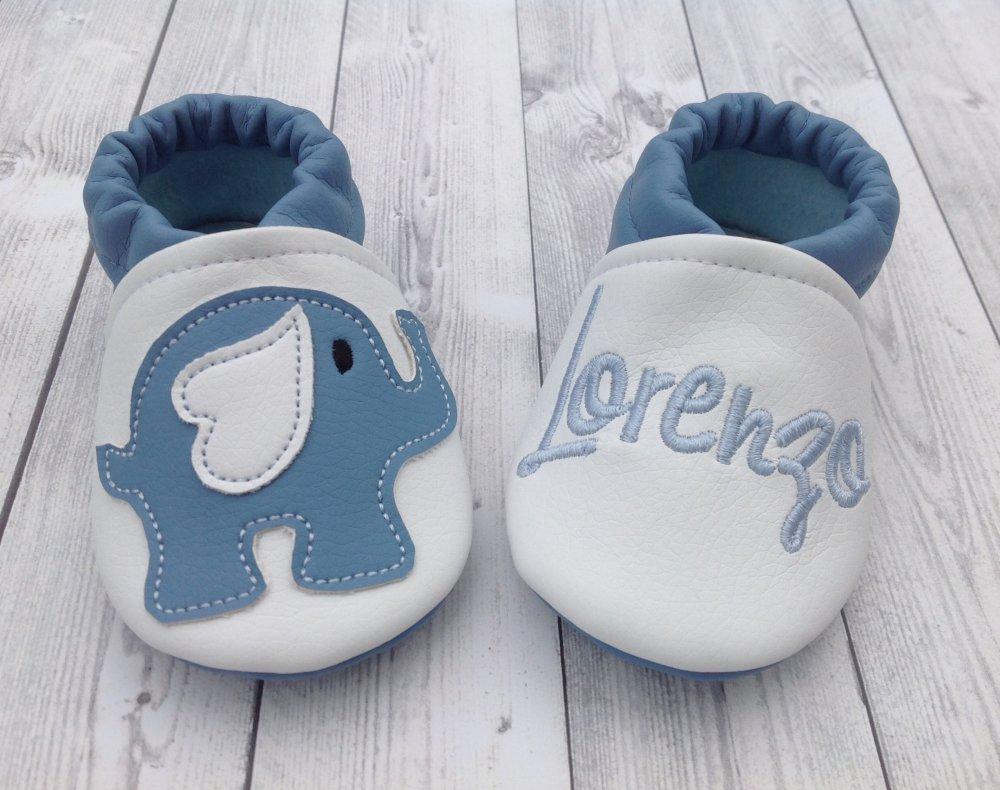 Scarpine ecopelle Elefantino personalizzate con nome - Bimbo 3/6 mesi
