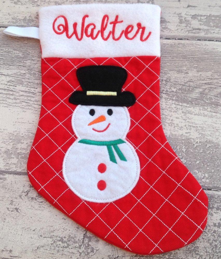 Calza Natale Befana personalizzata con nome - Lungh.totale cm.29 - Pupazzo di neve