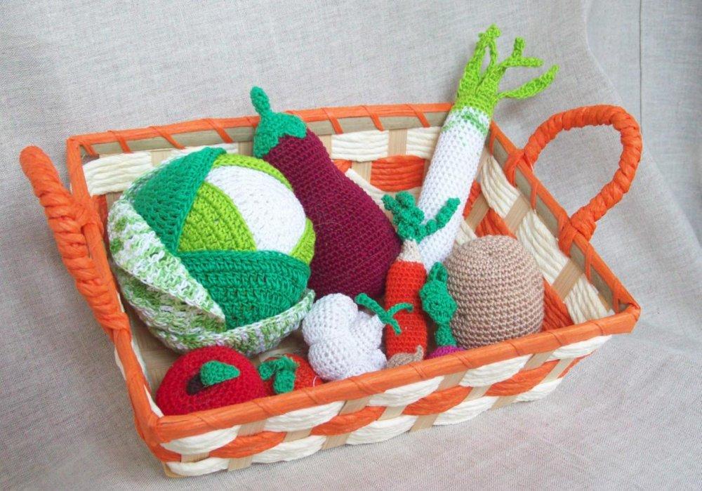 Morbida frutta e verdura Amigurumi con cestino