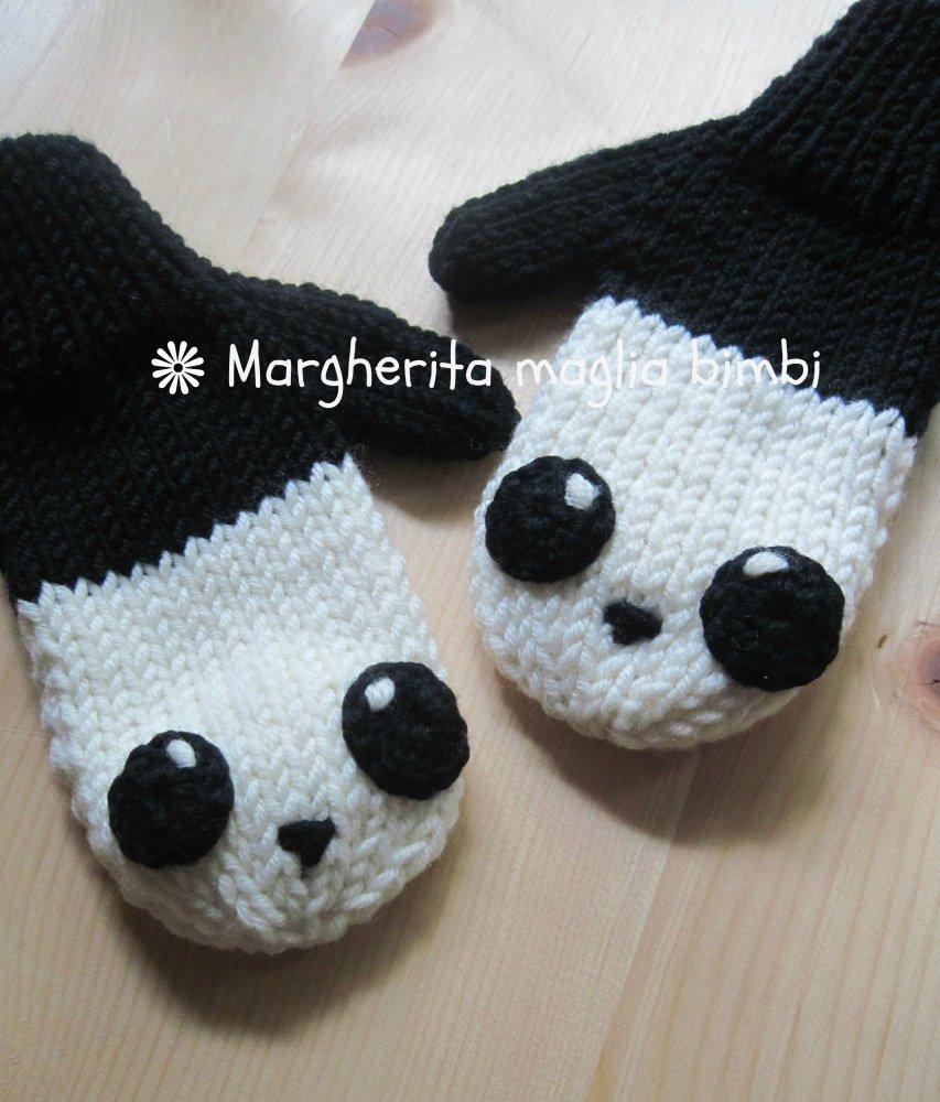 Manopole panda per bambino in pura lana merino superwash fatte a mano