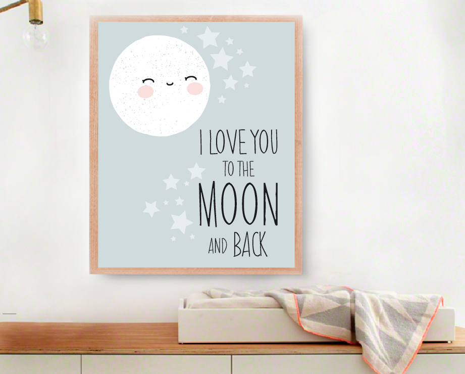 I love you to the moon and back Stampa Digitale, Modern Nursery Decor, Baby Wall Art