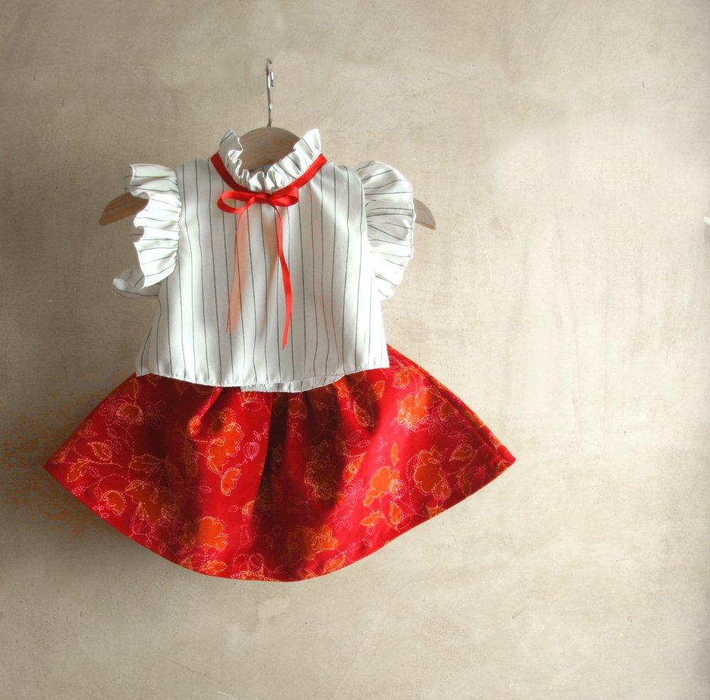 Abito di Natale: Camicetta bianca e  gonna in velluto rosso e fascia capelli per neonata e bambina, taglie da 6 mesi a 2 anni