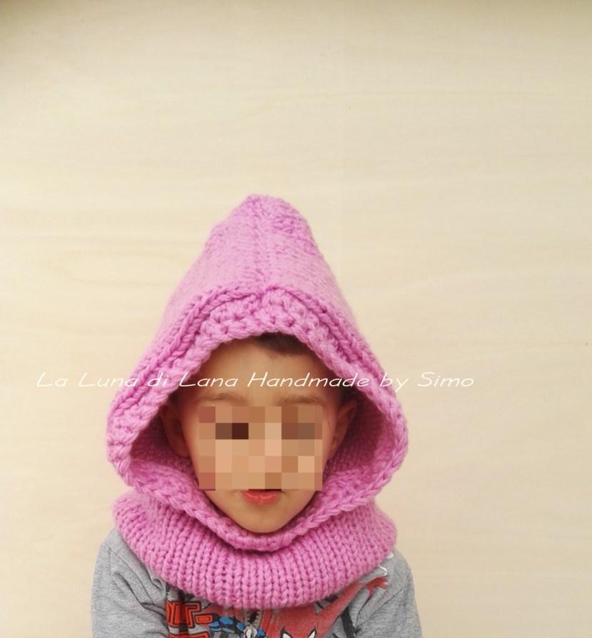 Cappuccio con scaldacollo per bambino o bambina
