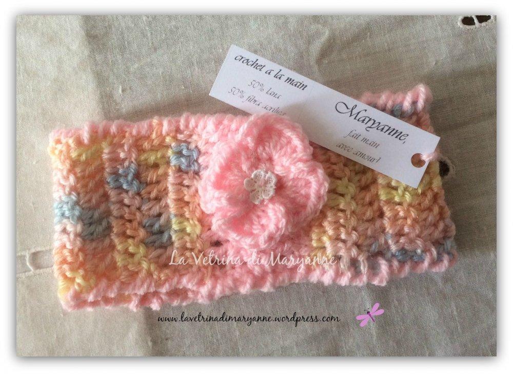 Fascetta crochet per capelli in misto lana rosa melangè