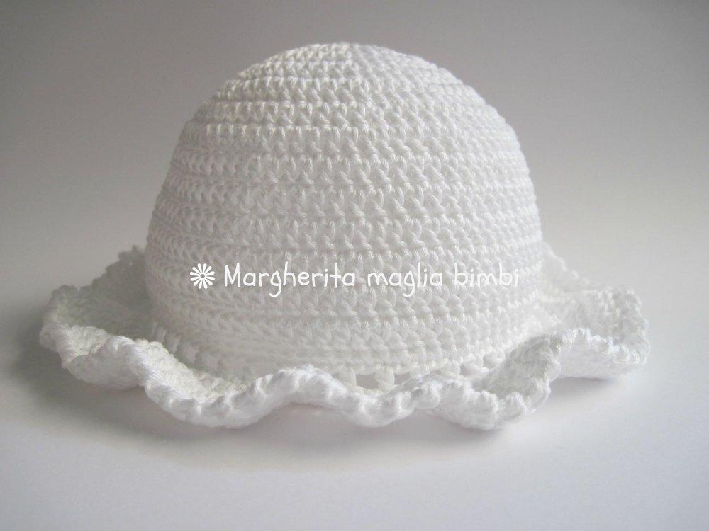 Cappello  balza per neonata/bambina in puro cotone  fatto a mano - uncinetto