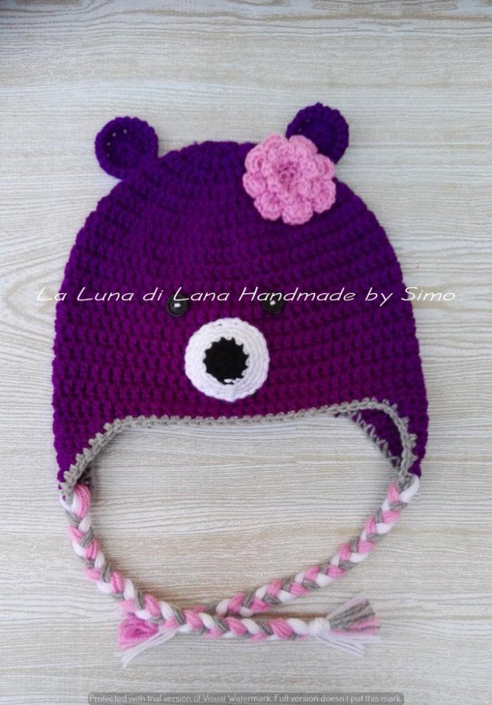Cappello per bambina a forma di orsetto viola, in lana baby ideale per l'inverno.