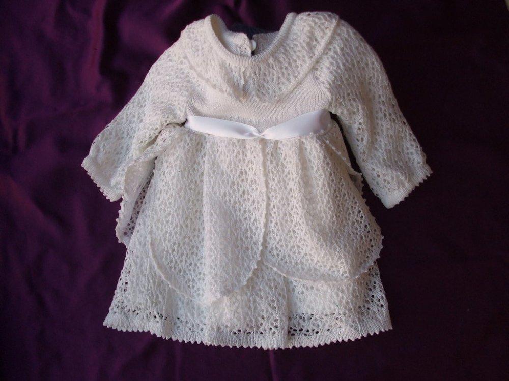 abito cotone bianco bimba battesimo