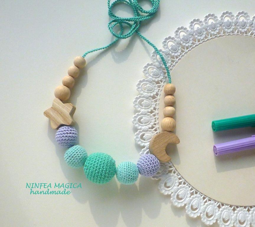 Collana da allattamento, dentizione e babywearing con stella e luna