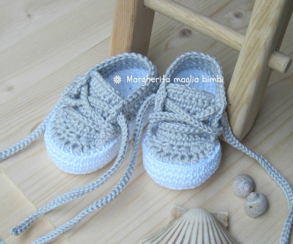 Scarpine/sneakers grigio chiaro bambino/bambina fatte a mano all'uncinetto - cotone