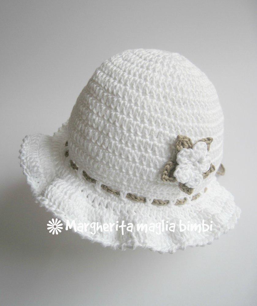 Cappello Balza Neonatabambina Bianco Con Fiore Biancotortora