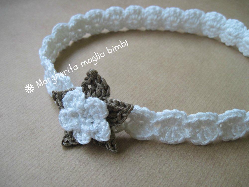 Fascia/fascetta neonata/bambina - cotone - fiore bianco/tortora - fatta a mano - uncinetto