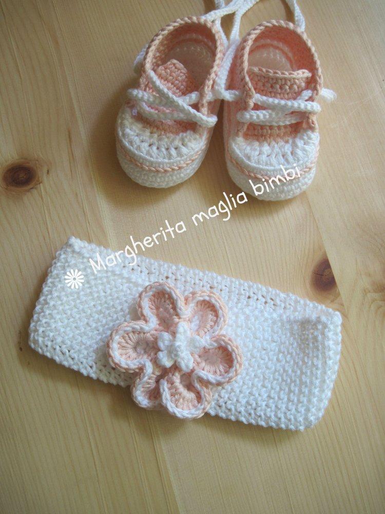 Fascia/fascetta neonata/bambina - cotone bianco - fiore rosa - fatta a mano - uncinetto