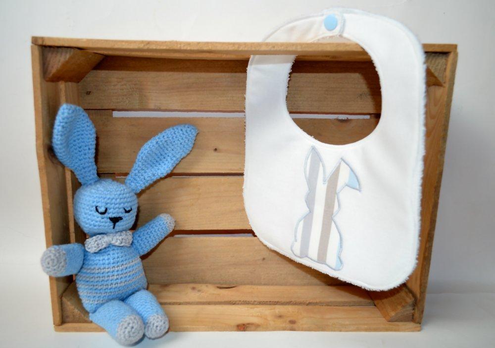 Bavaglino bianco con coniglietto a righe azzurre