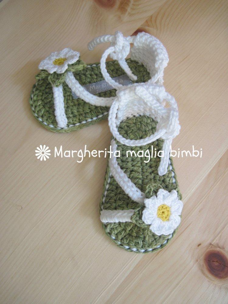 Scarpine sandali bambina prato di margherite - cotone - fatti a mano - uncinetto