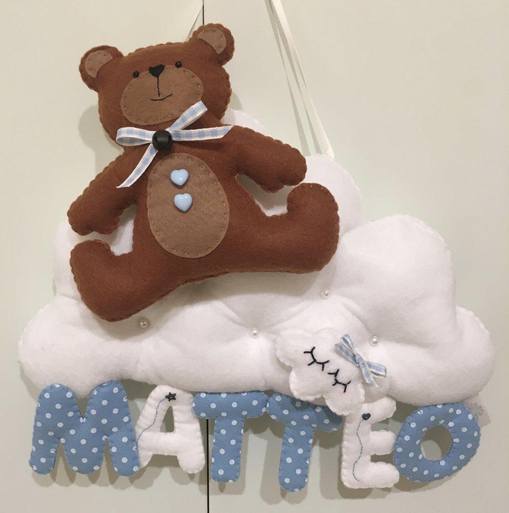 Fiocco nascita con orsetto su nuvola e nome