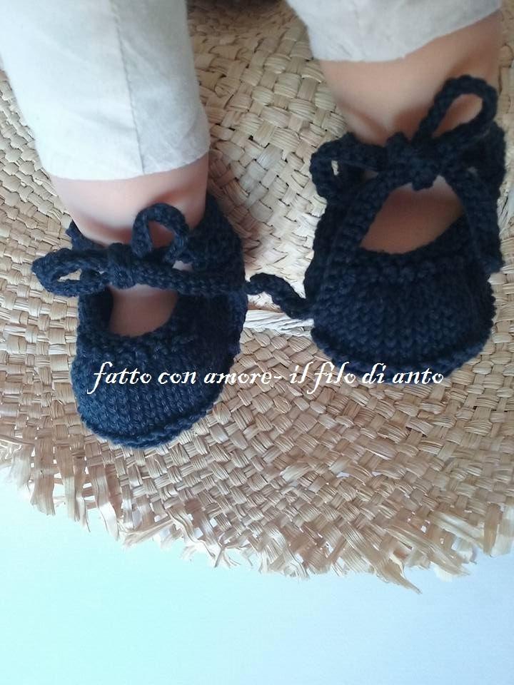 Scarpine bambino / bambina blu con fiocco