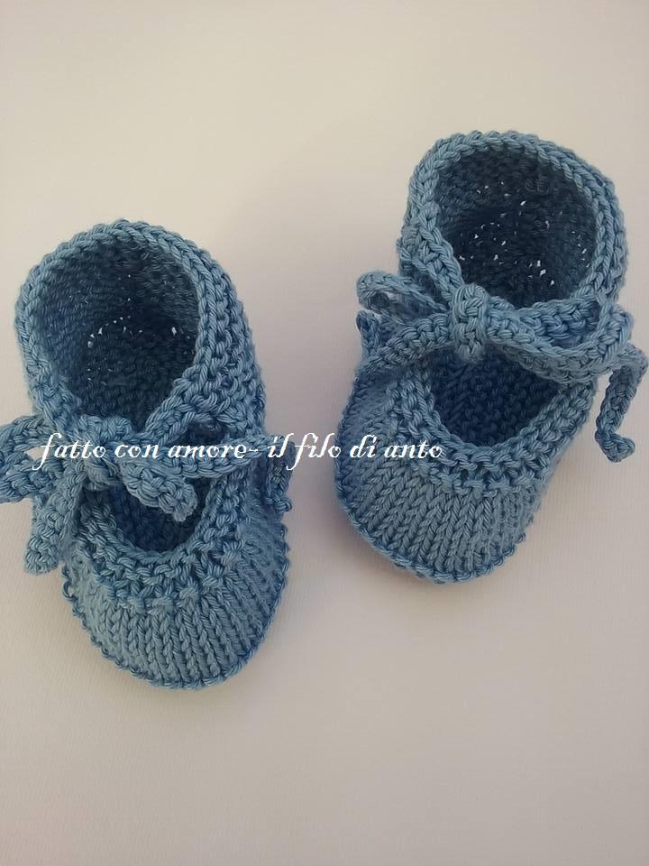Scarpine bambino / bambina blu denim  con fiocco
