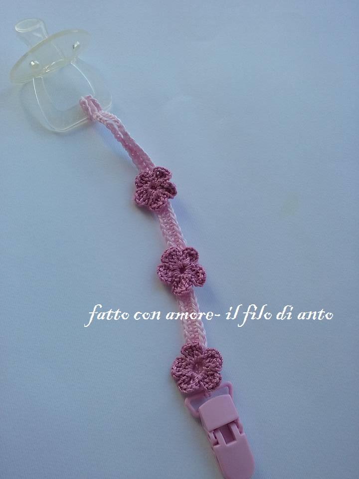Catenella porta ciuccio rosa con fiorellini