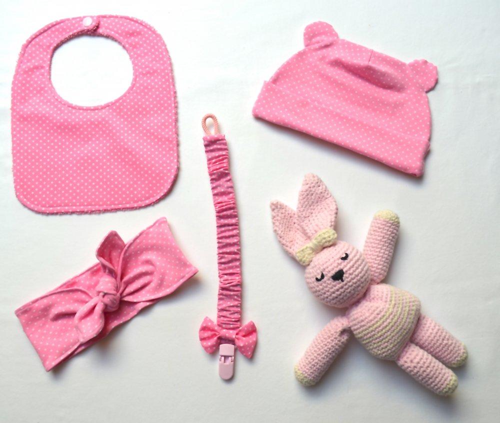 Set nascita bimba (bavaglio, fascia, berretto, reggiciuccio, peluche)