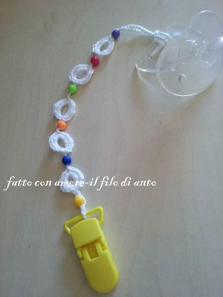 Catenella porta ciuccio per bambino /bambina bianco con perline colorate
