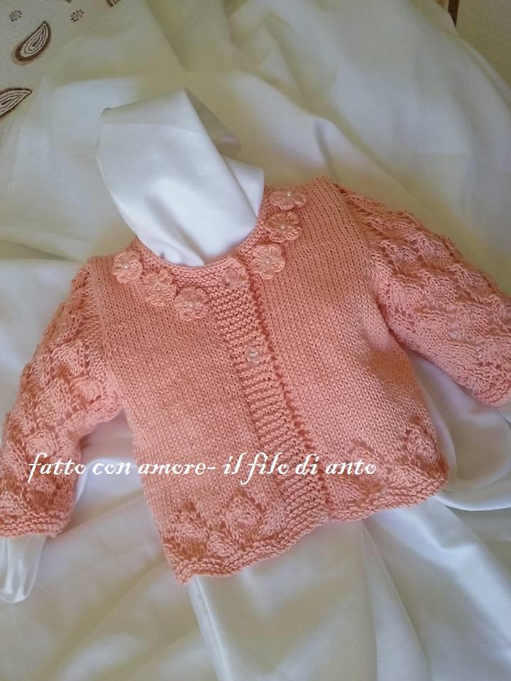 Maglia / cardigan /  bambina in cotone rosa pesca con fiorellini