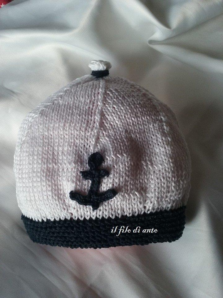 Cappello/berretto bianco e blu stile marina