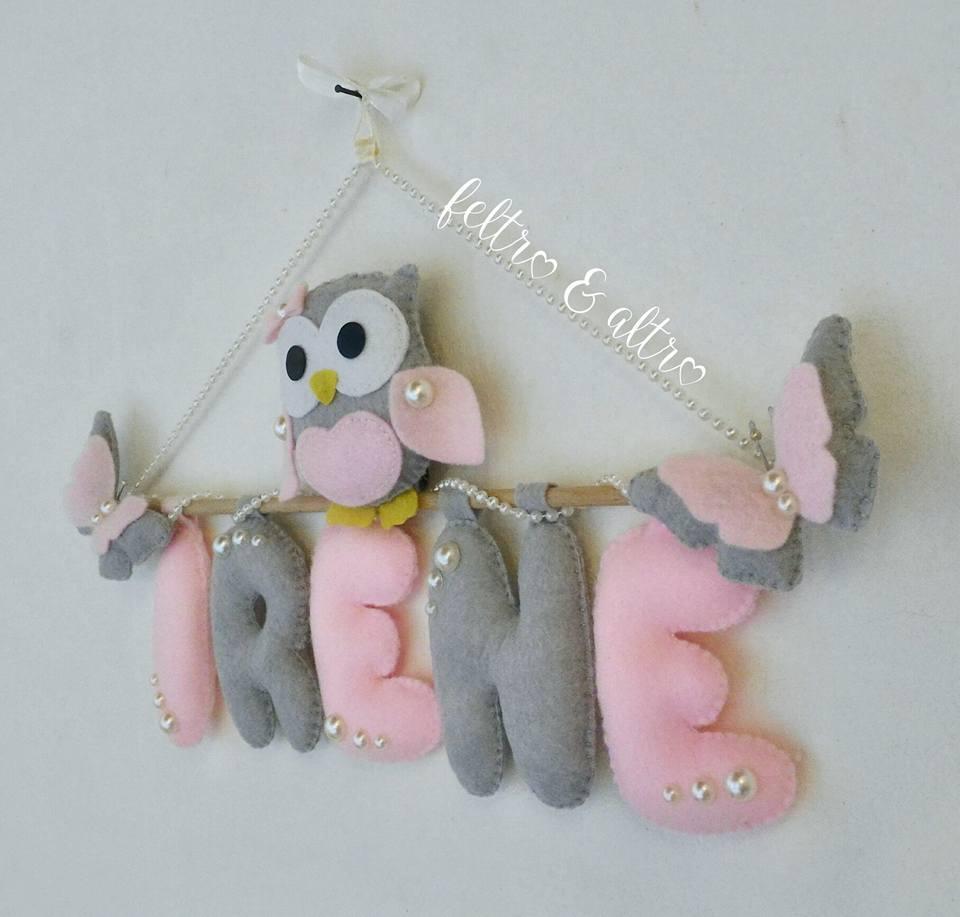 Banner nascita con gufetto,  farfalle e perle