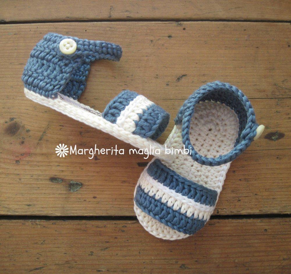 Sandali scarpine neonato/bambino - jeans scuro e avorio -  - cotone/uncinetto