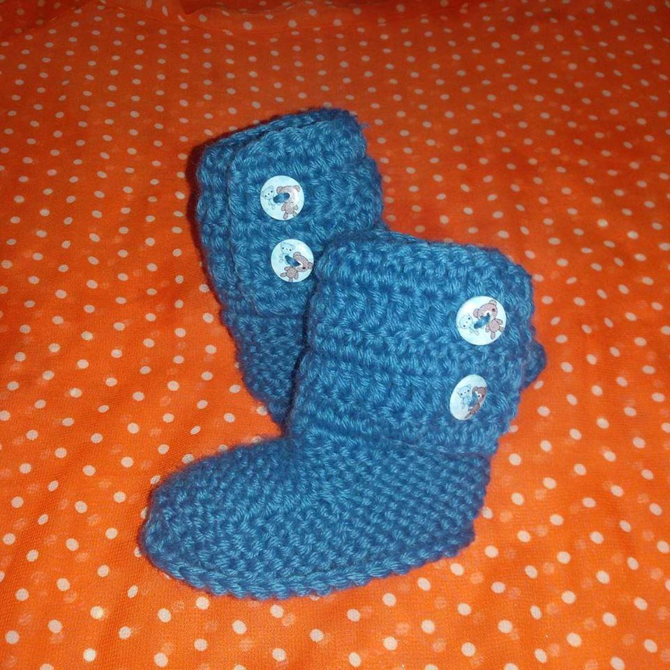 Stivaletti tipo  Ugg realizzazione a maglia neonato  blu