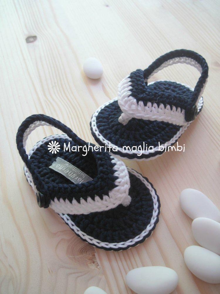 Sandali infradito neonato/bambino - bianchi/blu - Battesimo  - cotone - uncinetto