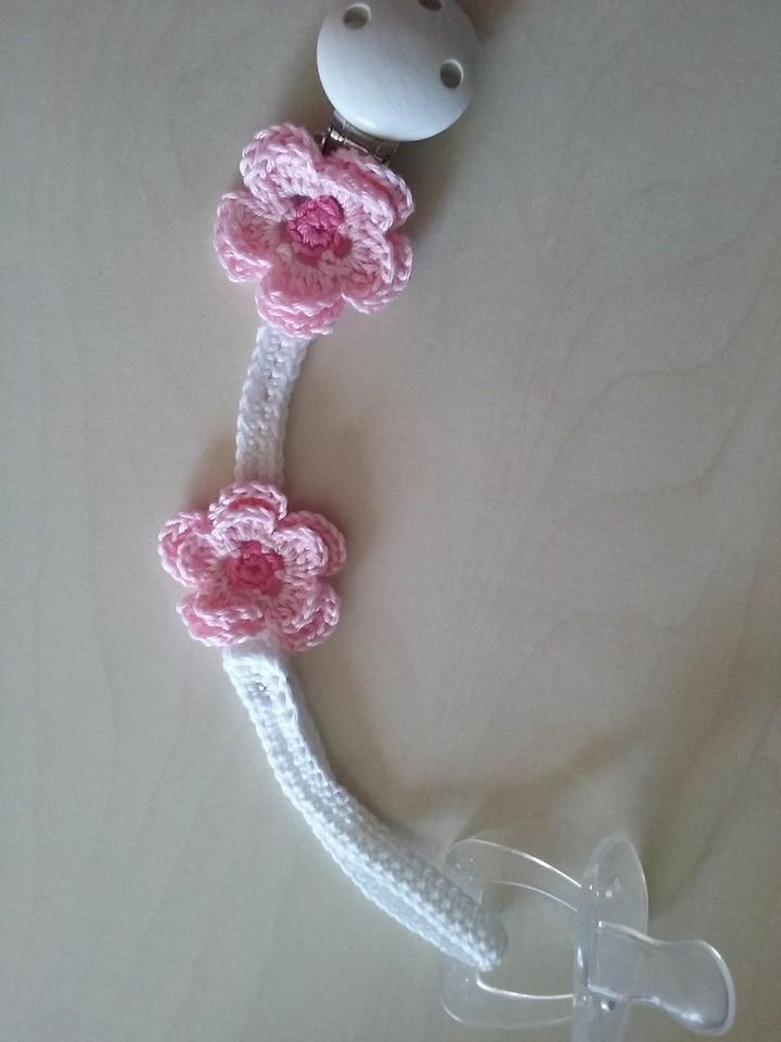 Catenella porta ciuccio con fiori rosa
