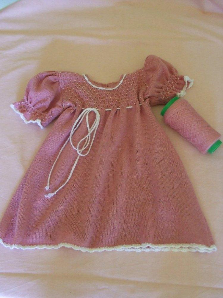 abito vestito lana maglia bimba rosa ricamato