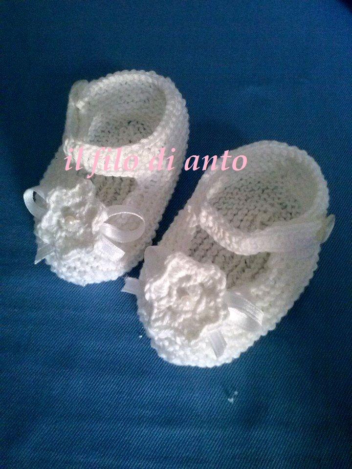 Scarpine bambina bianche con fiore e fiocco in raso