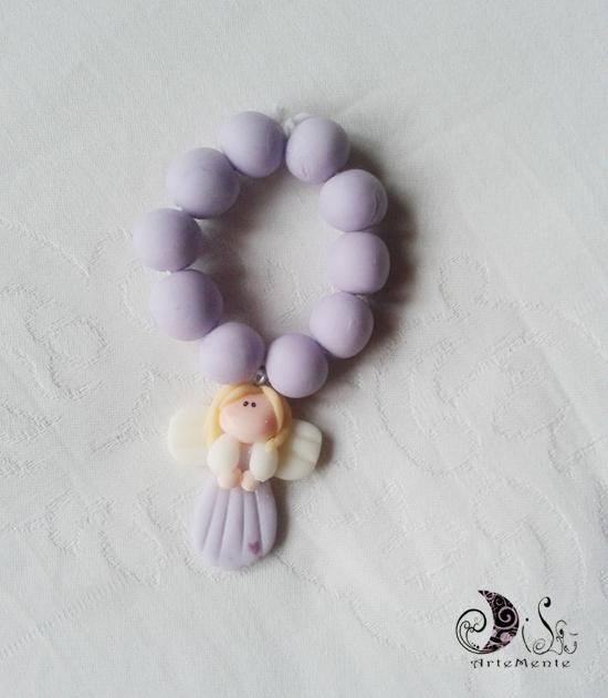 bomboniera comunione rosario con angelo lilla