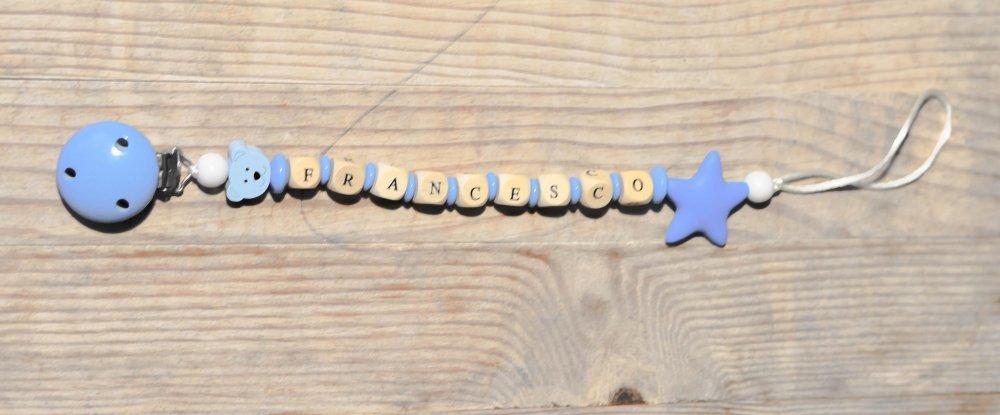 Catenella portaciuccio in legno e silicone modello Andrea