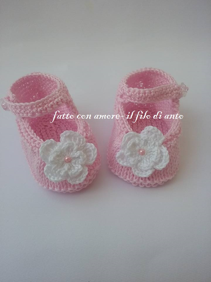 Scarpine bambina rosa con fiore bianco
