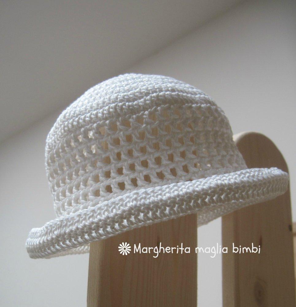 a4263920159 Cappello/cappellino cotone bianco con tesa e trafori - neonata/bambina -  uncinetto - Battesimo