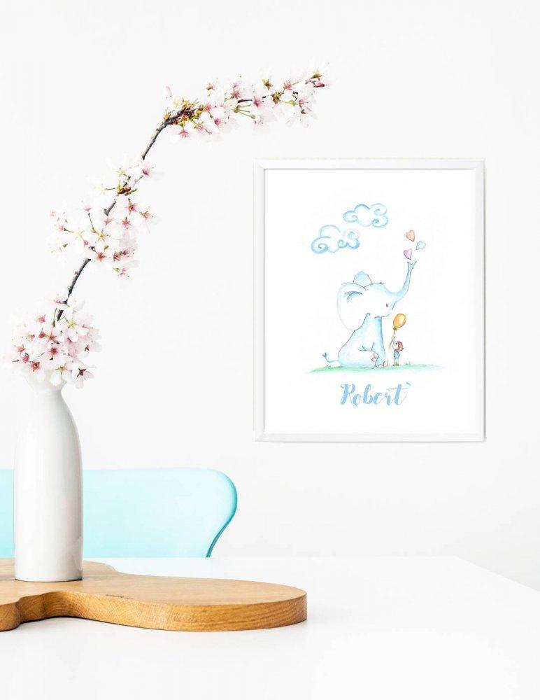 Stampa quadretto per bambini, stampa cameretta bambini, stampa elefante, stampa animali, poster da regalare, idea regalo bambini