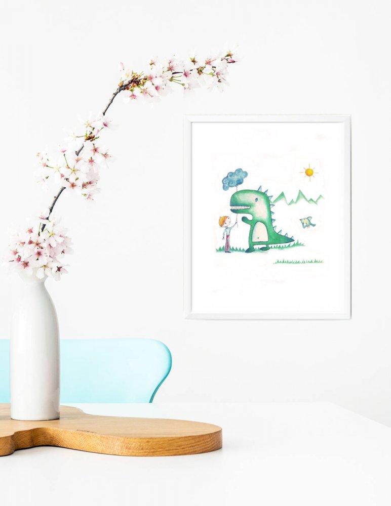 Stampa quadretto per bambini, stampa cameretta bambini, stampa con dinosauro, stampa animali, regalo compleanno, idea regalo bambini, regalo nascita