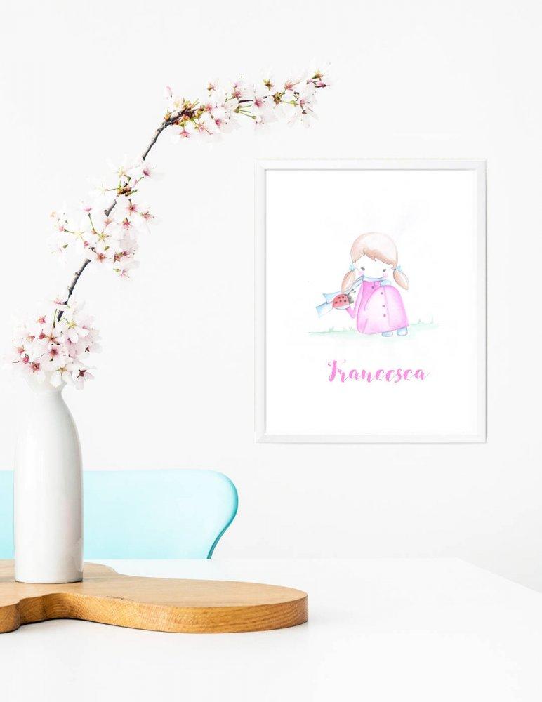 Stampa quadretto per bambine, stampa cameretta bambine, stampa con coccinella, stampa animali, regalo compleanno, idea regalo bambini, regalo nascita