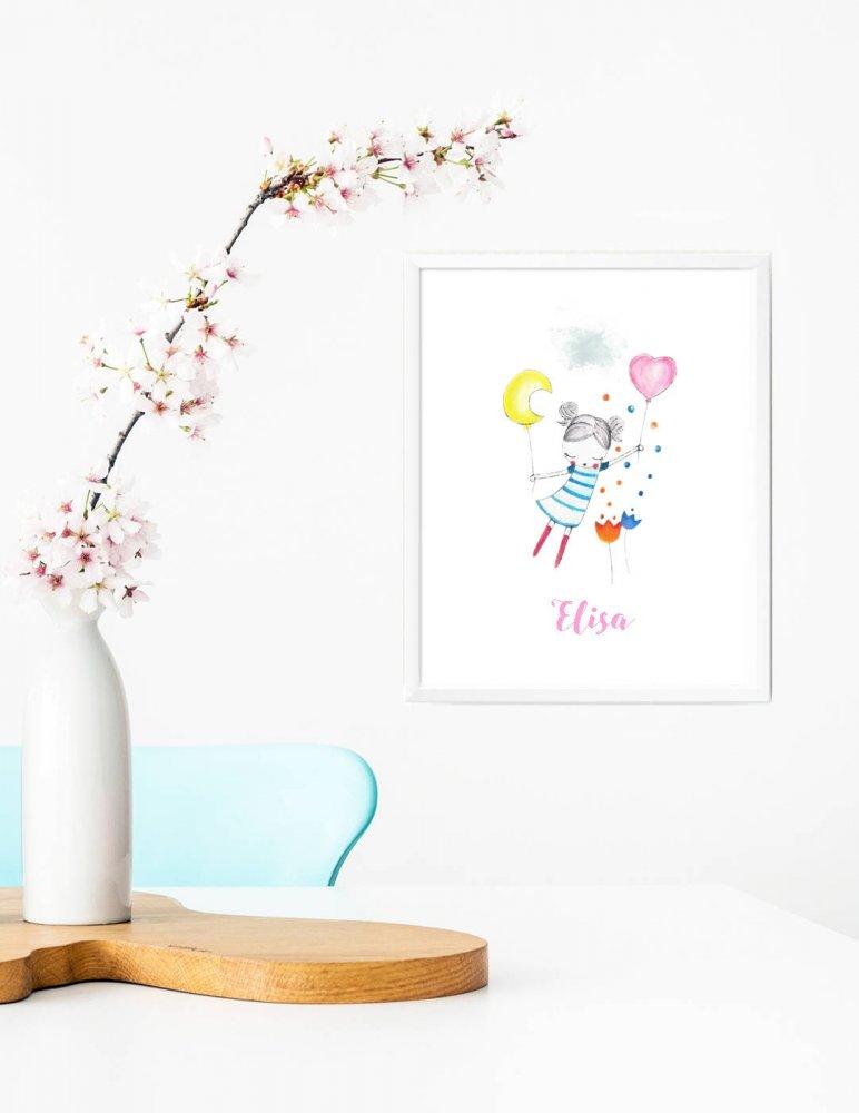 Stampa quadretto per bambine, stampa cameretta bambine, stampa con palloncini, stampa animali, regalo compleanno, idea regalo bambini, regalo nascita