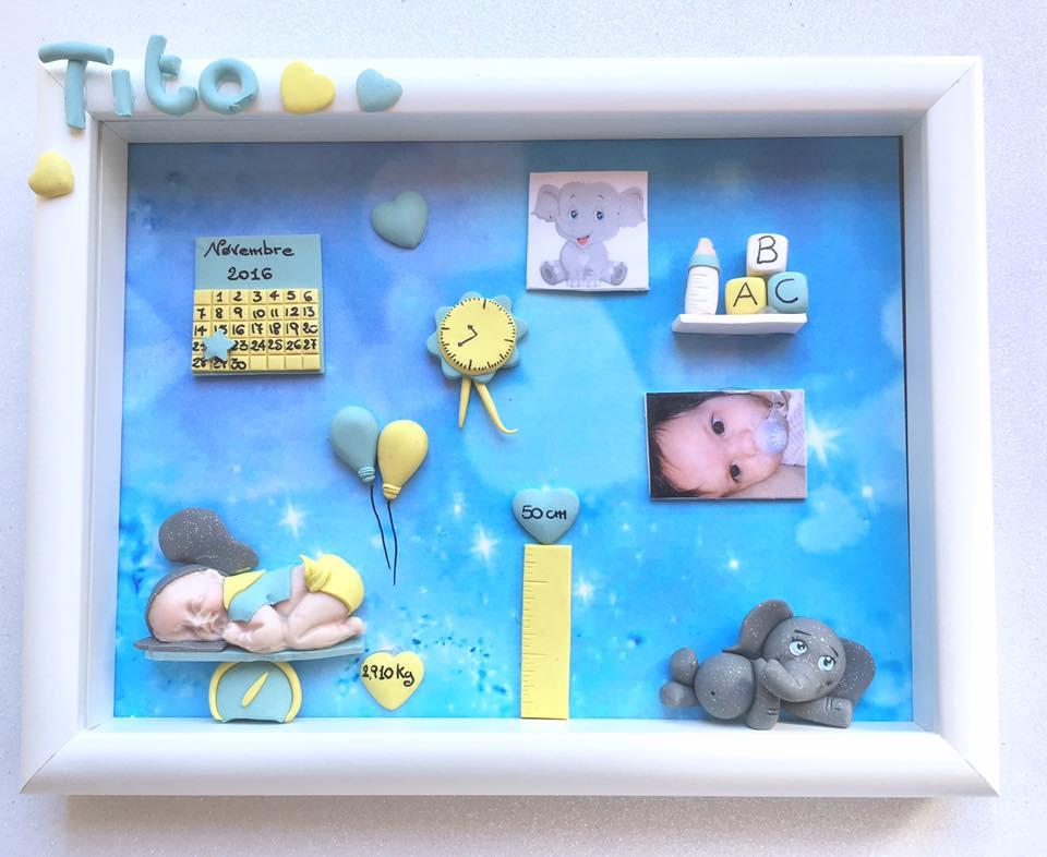 Quadretto nascita - memory frame - con elefantino