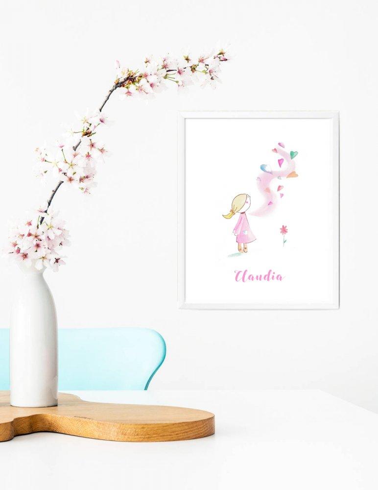 Stampa quadretto per bambine, stampa cameretta bambine, stampa con cuoricini, stampa animali, regalo compleanno, idea regalo bambini, regalo nascita