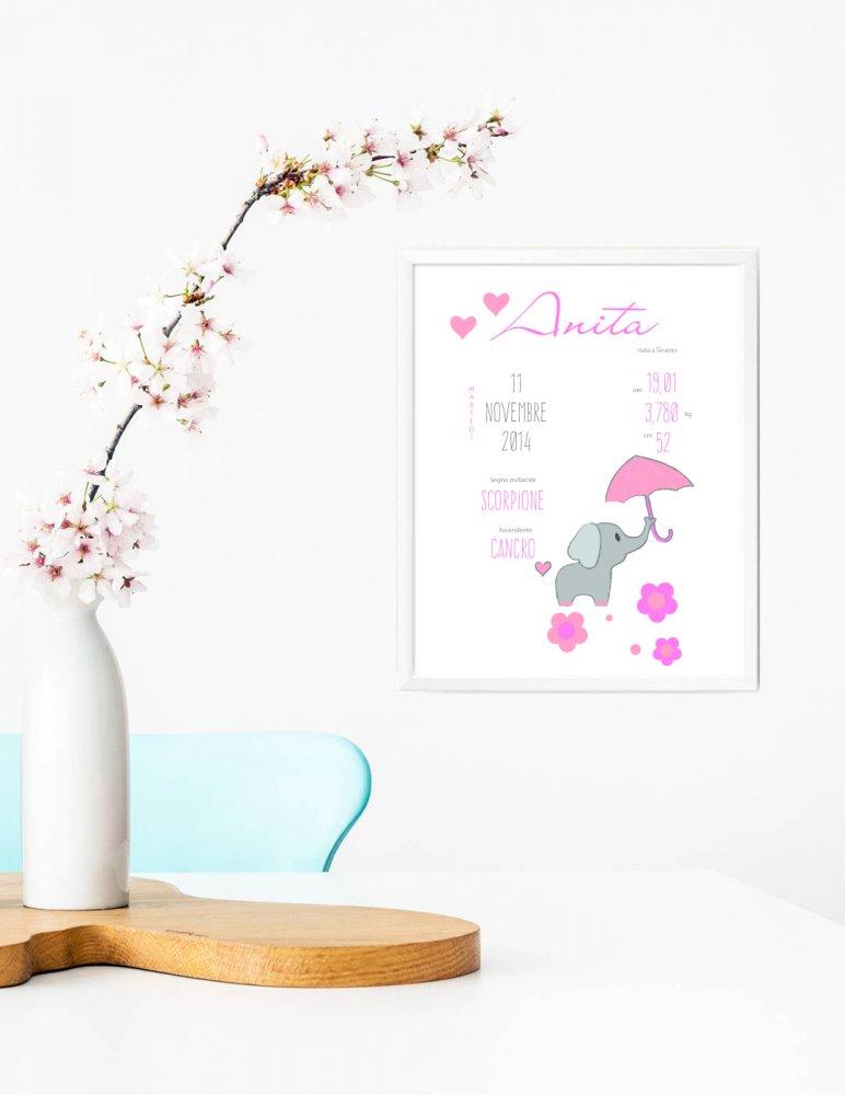 Stampa quadretto per bambine, stampa cameretta bambine, stampa ricordo di nascita, stampa animali, poster ricordo nascita,  idea regalo bambini, regalo nascita